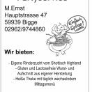 Fleischerei & Partyservice M.Ernst, Hauptstraße 47, 59909 Olsberg